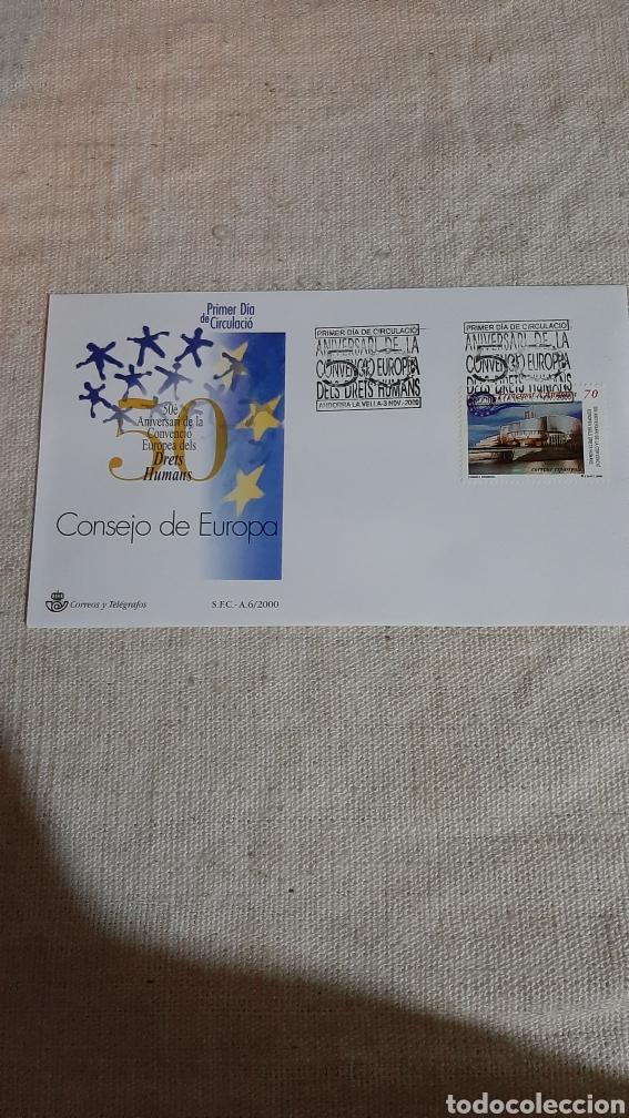 ANDORRA ESPAÑOLA CONSEJO EUROPA SFC A 6 2000 ARQUITECTURA DERECHOS HUMANOS EDIFIL 281 USADO MATASEL (Sellos - España - Dependencias Postales - Andorra Española)