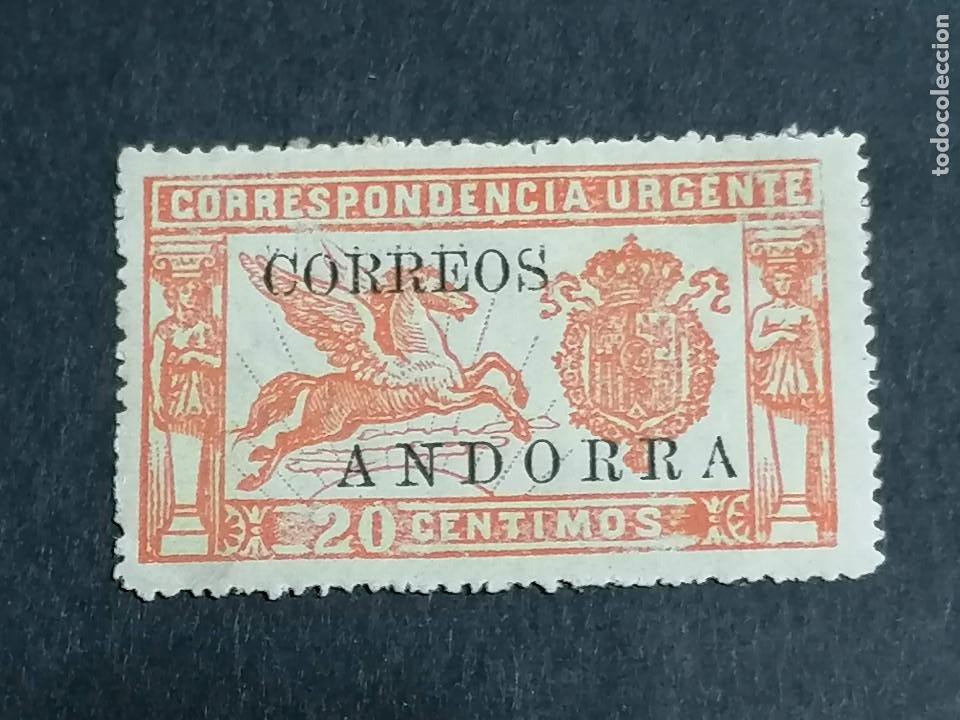 ESPAÑA ANDORRA EDIFIL 13 CON CIFRAS CONTROL NUEVO CHANELA * CENTRAJE DE LUJO (Sellos - España - Dependencias Postales - Andorra Española)