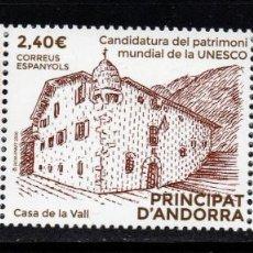 Sellos: ANDORRA 505** - AÑO 2020 - CASA DE LA VALL, CANDIDATURA DE PATRIMONIO MUNDIAL DE UNESCO. Lote 244562085