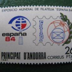 Sellos: +ANDORRA, 1984, EXPOSICION MUNDIAL DE FILATELIA ESPAÑA-84, EDIFIL 178. Lote 244944165