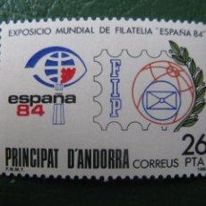 Sellos: +ANDORRA, 1984, EXPOSICION MUNDIAL DE FILATELIA ESPAÑA-84, EDIFIL 178. Lote 244944245