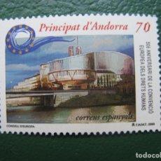 Sellos: +ANDORRA, 2000, 50 ANIV. CONVENCION AUROPEA DE LOS DERECHOS HUMANOS, EDIFIL 281. Lote 245019200