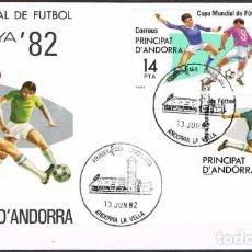 Sellos: [C0161] ANDORRA 1982; FDC SERIE CAMPEONATO MUNDIAL DE FÚTBOL. ESPAÑA 82 (NS). Lote 248117670