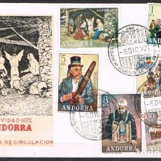 Sellos: [C0163] ANDORRA 1972; FDC SERIE COSTUMBRES POPULARES (NS). Lote 248514395