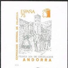 Sellos: [C0164] ANDORRA 1975; TARJETA PRIMER DÍA DE CIRCULACIÓN. EXPOSICIÓN FILATÉLICA (NS). Lote 248646605
