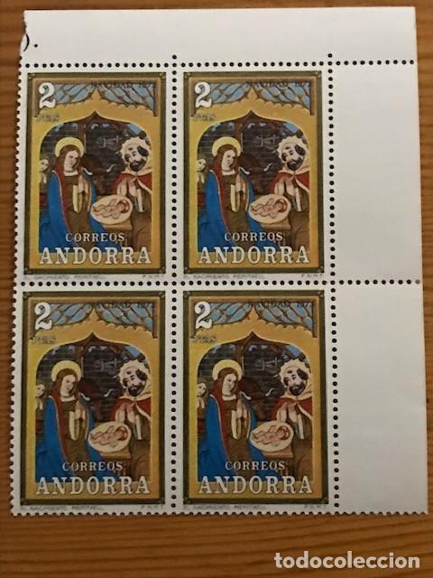Sellos: Andorra, 1973, Navidad, Bloque de 4, Edifil 87 y 88, Nuevos ** - Foto 2 - 248991680