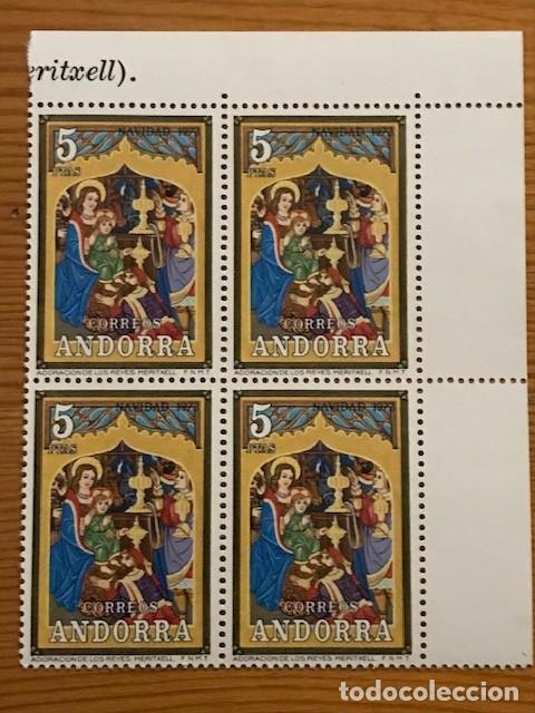 Sellos: Andorra, 1973, Navidad, Bloque de 4, Edifil 87 y 88, Nuevos ** - Foto 3 - 248991680