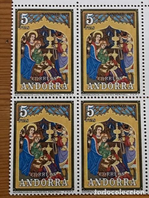 Sellos: Andorra, 1973, Navidad, Bloque de 4, Edifil 87 y 88, Nuevos ** - Foto 5 - 248991680
