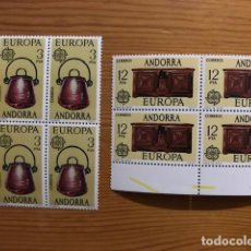 Sellos: ANDORRA, 1976, EUROPA, BLOQUE DE 4, EDIFIL 102 Y 103, NUEVOS **. Lote 248992050