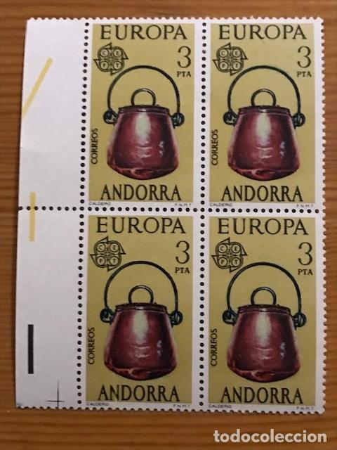 Sellos: Andorra, 1976, Europa, Bloque de 4, Edifil 102 y 103, Nuevos ** - Foto 2 - 248992050