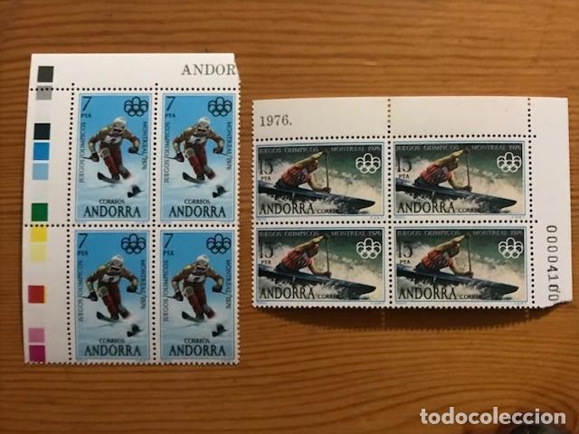 ANDORRA, 1976, JUEGOS OLIMPICOS, BLOQUE DE 4, EDIFIL 104 Y 105, NUEVOS ** (Sellos - España - Dependencias Postales - Andorra Española)