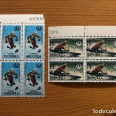 Sellos: ANDORRA, 1976, JUEGOS OLIMPICOS, BLOQUE DE 4, EDIFIL 104 Y 105, NUEVOS **. Lote 248993295