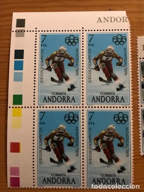 Sellos: Andorra, 1976, Juegos Olimpicos, Bloque de 4, Edifil 104 y 105, Nuevos ** - Foto 2 - 248993295