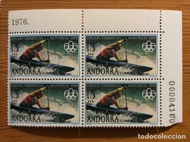 Sellos: Andorra, 1976, Juegos Olimpicos, Bloque de 4, Edifil 104 y 105, Nuevos ** - Foto 3 - 248993295