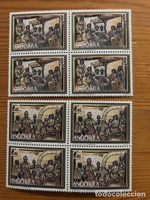 ANDORRA, 1976, NAVIDAD, BLOQUE DE 4, EDIFIL 106 Y 107, NUEVOS ** (Sellos - España - Dependencias Postales - Andorra Española)