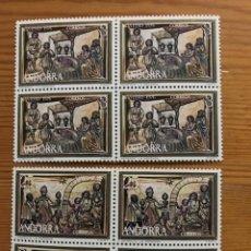 Sellos: ANDORRA, 1976, NAVIDAD, BLOQUE DE 4, EDIFIL 106 Y 107, NUEVOS **. Lote 249053810