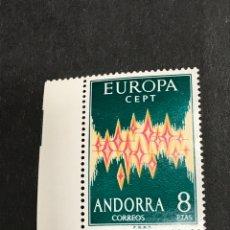 Sellos: EDIFIL 72 ANDORRA 8 PTS EUROPA 1972 CEPT NUEVO SIN FIJASELLOS,BORDE DE HOJA, PERFECTO, CATÁLOGO 120€. Lote 253021470