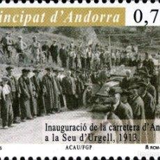 Sellos: ANDORRA 2013 EDIFIL 402 SELLO ** INAUGURACIÓN DE LA CARRETERA DE ANDORRA A LA SEU DE'URGELL MI. 398. Lote 256042630