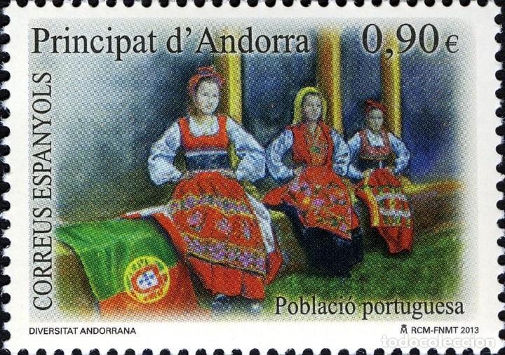 ANDORRA 2013 EDIFIL 406 SELLO ** DIVERSIDAD ANDORRANA POBLACION PORTUGUESA TRAJES TÍPICOS MICHEL 402 (Sellos - España - Dependencias Postales - Andorra Española)