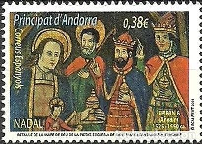 """ANDORRA 2014 EDIFIL 425 SELLO ** NAVIDAD CHRISTMAS NADAL DETALLE CUADRO DE ALTAR """"SANTA MARÍA Y LOS (Sellos - España - Dependencias Postales - Andorra Española)"""