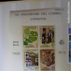 Sellos: ANDORRA, 1978, HOJITA BLOQUE 50 ANIV. DEL CORREO ESPAÑOL, EDIFIL 116 HB. Lote 261520245