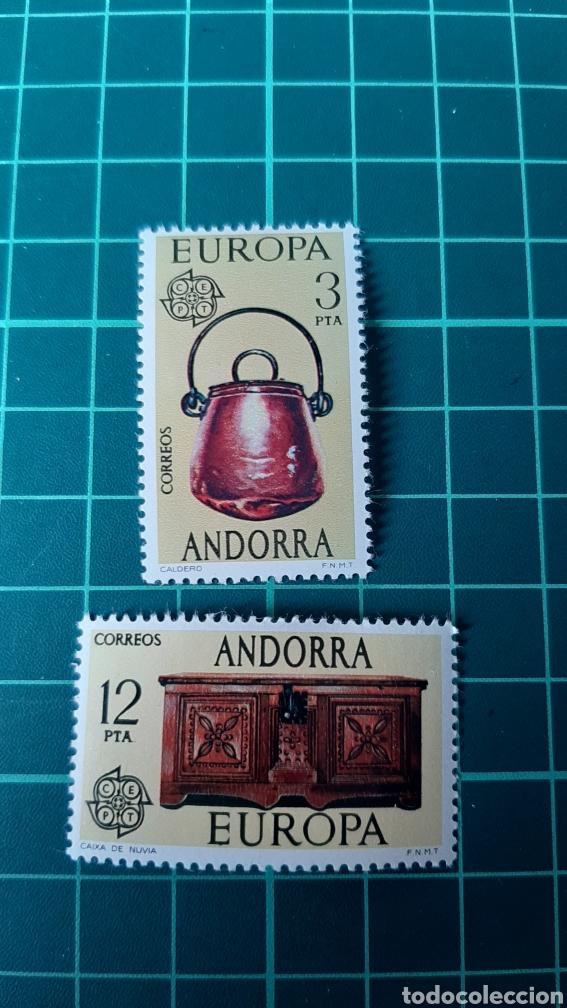 ENOGRAFIA ANDORRA ESPAÑOLA EDIFIL 192 / 3 NUEVA 1976 MUEBLES CAJA NOVIA CALDERO (Sellos - España - Dependencias Postales - Andorra Española)