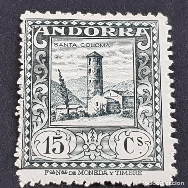 ANDORRA, 1929, EDIFIL 18*, PAISAJES, SANTA COLOMA, FIJASELLO, Nº SERIE A000,027, ( LOTE AB ) (Sellos - España - Dependencias Postales - Andorra Española)