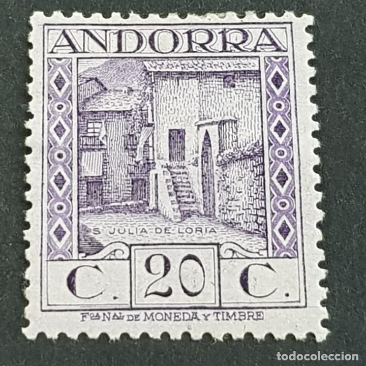 ANDORRA, 1929, EDIFIL 19*, PAISAJES, SAN JULIÁN DE LORIA, FIJASELLO, Nº SERIE A000,020, ( LOTE AB ) (Sellos - España - Dependencias Postales - Andorra Española)