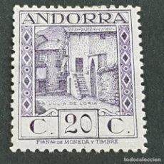 Sellos: ANDORRA, 1929, EDIFIL 19*, PAISAJES, SAN JULIÁN DE LORIA, FIJASELLO, Nº SERIE A000,020, ( LOTE AV ). Lote 262046580