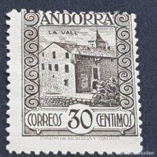 Sellos: ANDORRA, 1929, EDIFIL 21*, PAISAJES, CASA DE LOS VALLES, FIJASELLO, Nº SERIE A000,024, ( LOTE AV ). Lote 262048795