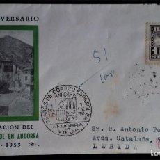 Sellos: ANDORRA ESPAÑOLA SOBRE PRIMER DIA SPD 1951 PAISAJE CORREO AÉREO AVION EDIFIL 59. Lote 267777744