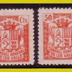 Sellos: ANDORRA CONSELL GENERAL DE LES VALLS, TASAS 1 A 4 * * LUJO. Lote 270938133