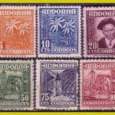 Sellos: ANDORRA 1948 TIPOS Y PAISAJE, EDIFIL Nº 45 A 53 Y 55 *. Lote 271400233