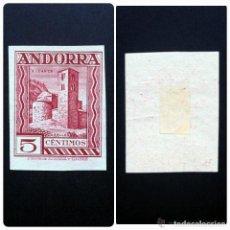 Sellos: ANDORRA .AÑOS 1935-1943 .TIPOS (SIN NUMERACIÓN) Nº 29EC (CAMBIO DE COLOR. SIN DENTAR).RARO.. Lote 271864743
