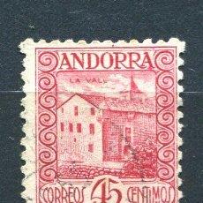Sellos: EDIFIL 38 DE ANDORRA. 45 CTS PAISAJES, SIN NÚMERO CONTROL. USADO. Lote 287231463
