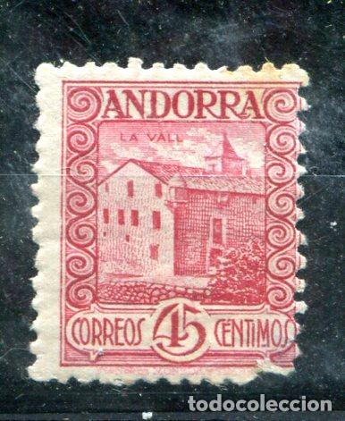 EDIFIL 38 DE ANDORRA. 45 CTS PAISAJES, SIN NÚMERO CONTROL. USADO. DEFECTO EN ESQUINA INFERIOR DERECH (Sellos - España - Dependencias Postales - Andorra Española)
