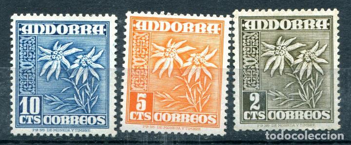 EDIFIL 45 AL 47 DE ANDORRA. 3 SELLOS, TEMA FLORES, NUEVOS SIN FIJASELLOS (Sellos - España - Dependencias Postales - Andorra Española)