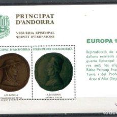 Sellos: HOJITA EUROPA 1980 DE ANDORRA, VEGUERÍA EPISCOPAL. NUEVA SIN FIJASELLOS.. Lote 287236933