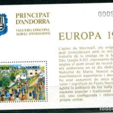 Sellos: HOJITA EUROPA 1981 DE ANDORRA, VEGUERÍA EPISCOPAL. NUEVA SIN FIJASELLOS.. Lote 287237018