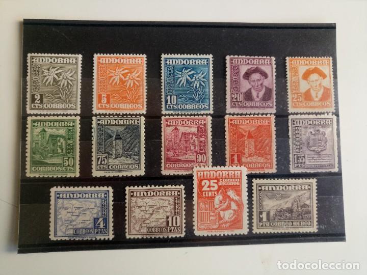 TIPOS DIVERSOS DEL AÑO 1948 Y SERIE AÉREA DEL 1951 EDIFIL 45/58 Y 59 EN NUEVO ** (Sellos - España - Dependencias Postales - Andorra Española)