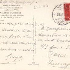 Sellos: FRANQUEO CON SELLOS ESPAÑOLES Y MATASELLOS DE ANDORRA LA VELLA- EN POSTAL DE V.CLAVEROL. Lote 288031978