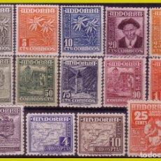 Sellos: ANDORRA 1948 - 53 TIPOS DIVERSOS, EDIFIL Nº 45 A 58 * *. Lote 288359023