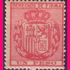 Sellos: FILIPINAS FISCALES, DERECHOS DE FIRMA, 1 PESO ROSA * *. Lote 21087806