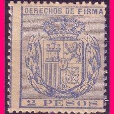 Sellos: FILIPINAS FISCALES, DERECHOS DE FIRMA, 2 PESOS AZUL * *. Lote 21087891