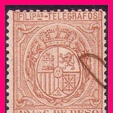 Sellos: FILIPINAS TELÉGRAFOS 1896 ESCUDO DE ESPAÑA, EDIFIL Nº 63 (O). Lote 21988906
