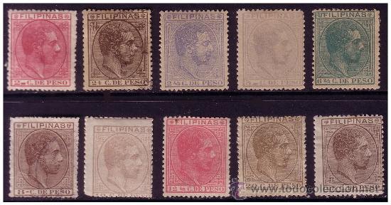 FILIPINAS 1880 ALFONSO XII, EDIFIL Nº 57 A 66 *, 58 Y 62 (O) (Sellos - España - Dependencias Postales - Filipinas)