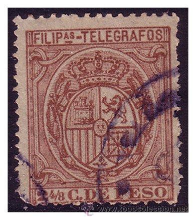 FILIPINAS TELÉGRAFOS 1894 ESCUDO DE ESPAÑA, EDIFIL Nº 49 (O) (Sellos - España - Dependencias Postales - Filipinas)