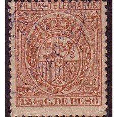 Sellos: FILIPINAS TELÉGRAFOS 1896 ESCUDO DE ESPAÑA, EDIFIL Nº 63 (O). Lote 23858357