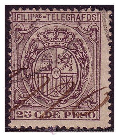 FILIPINAS TELÉGRAFOS 1896 ESCUDO DE ESPAÑA, EDIFIL Nº 65 (O) (Sellos - España - Dependencias Postales - Filipinas)