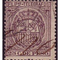 Sellos: FILIPINAS TELÉGRAFOS 1896 ESCUDO DE ESPAÑA, EDIFIL Nº 65 (O). Lote 23858429